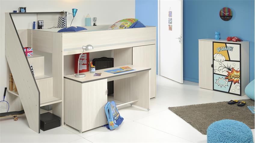 Kinderzimmer Gravity 2 Esche Struktur mit Schreibtisch 3-tlg
