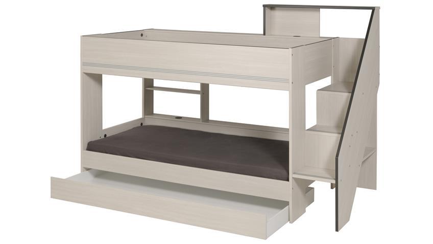 Etagenbett GRAVITY 12 Esche Struktur mit Bettschubkasten