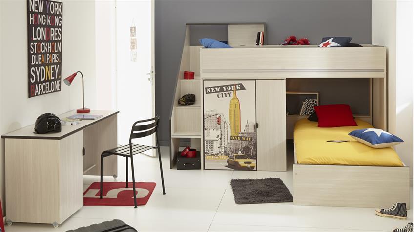 Kinderzimmer Gravity 22 Esche Struktur mit Schreibtisch 3-tlg