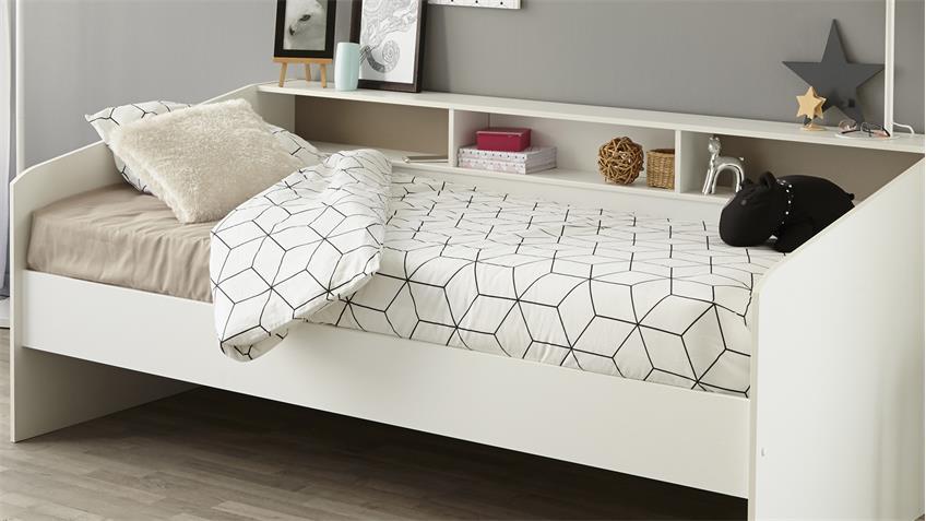 Stauraumbett  SLEEP 2 Einzelbett in weiß