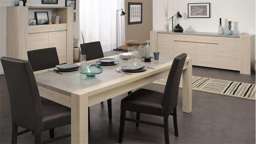 Esszimmer Set GOSPEL 1 Eiche Sesam Steinoptik mit Stühlen