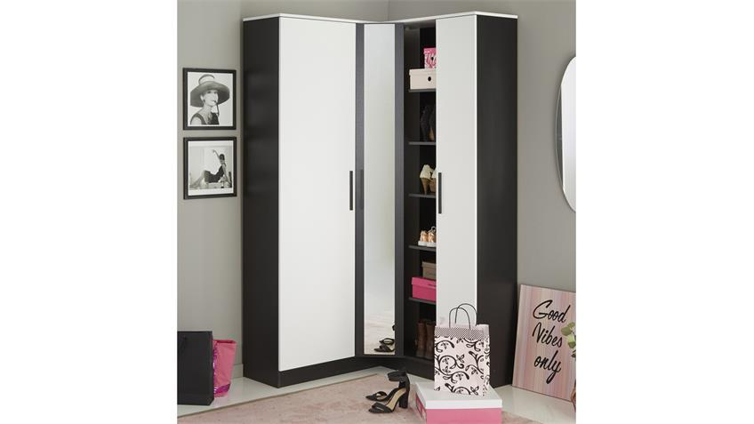 schuhschrank escarpin garderobenschrank schwarz und wei mit spiegel. Black Bedroom Furniture Sets. Home Design Ideas