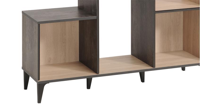 regal edisson 6 standregal in eiche kiefer mit retro. Black Bedroom Furniture Sets. Home Design Ideas