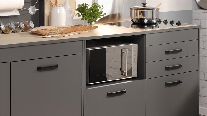 k che moove 2 einbauk che k chenzeile grau und eiche hell 3 teilig. Black Bedroom Furniture Sets. Home Design Ideas