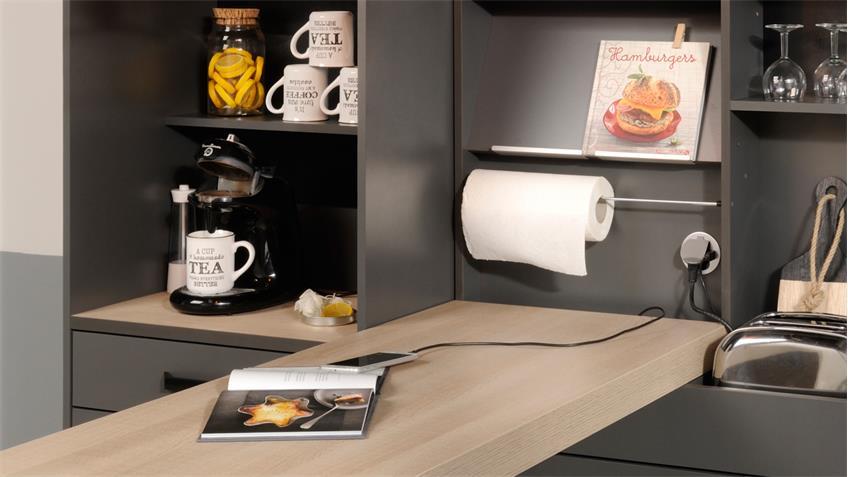 k che moove 3 k chentheke bar bartisch grau und eiche hell 3 teilig. Black Bedroom Furniture Sets. Home Design Ideas