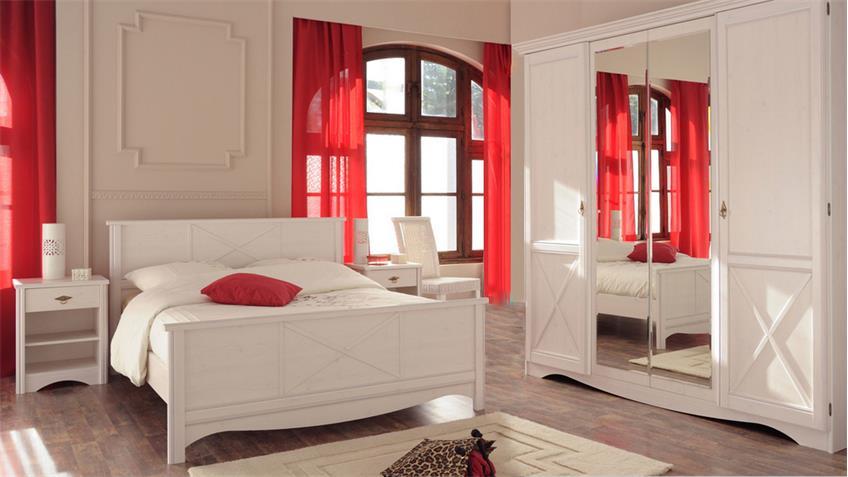 Schlafzimmer MARION 3 Kiefer weiß Landhaus 4tlg Parisot