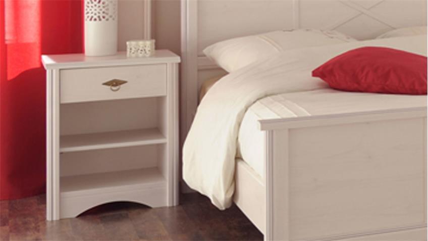Schlafzimmer Bettanlage MARION 7 Kiefer weiß 3tlg Parisot