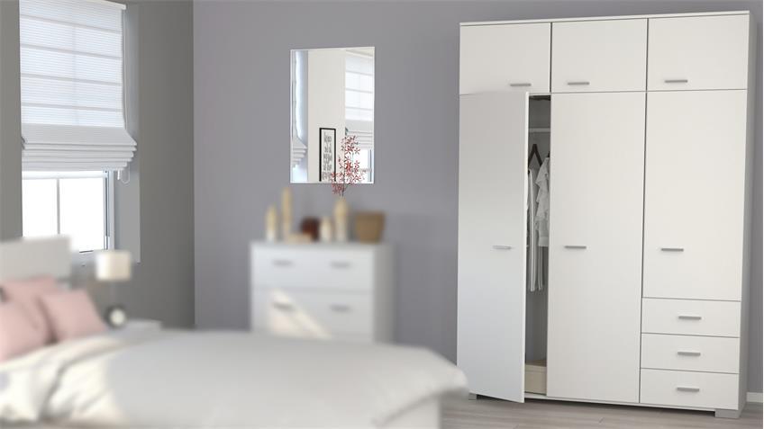 Kleiderschrank GALAXY 2 in weiß Parisot 6-türig Schlafzimmer