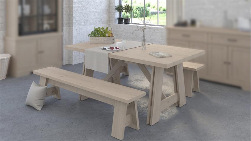 Essgruppe VANILLE 4 Parisot Tisch 2 Bänke Tischgruppe Eiche Jackson