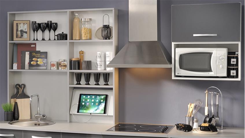 Küchenzeile SPOON Natura 2 Hochglanz Grau 7-tlg Parisot