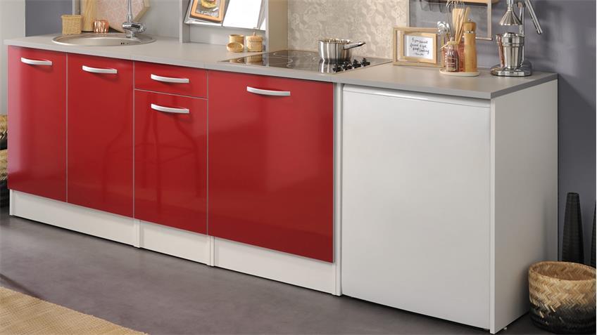 Küchenzeile SPOON Natura 3 Hochglanz Rot 7-tlg Parisot