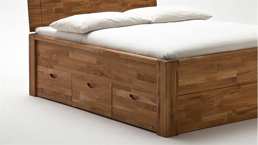 Bett JALAS Bettgestell Schlafzimmer in Wildeiche massiv geölt 140x200