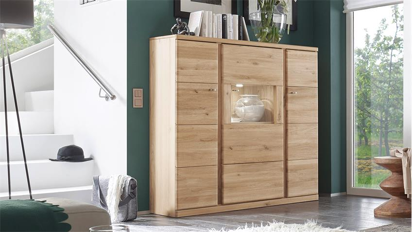 Highboard 1 TERANO in Wildeiche bianco teilmassiv