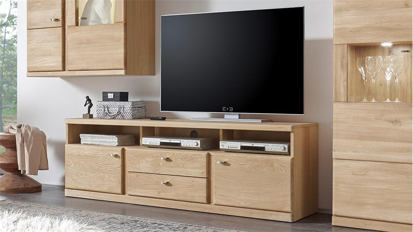 TV-Board 2 TERANO in Wildeiche bianco teilmassiv