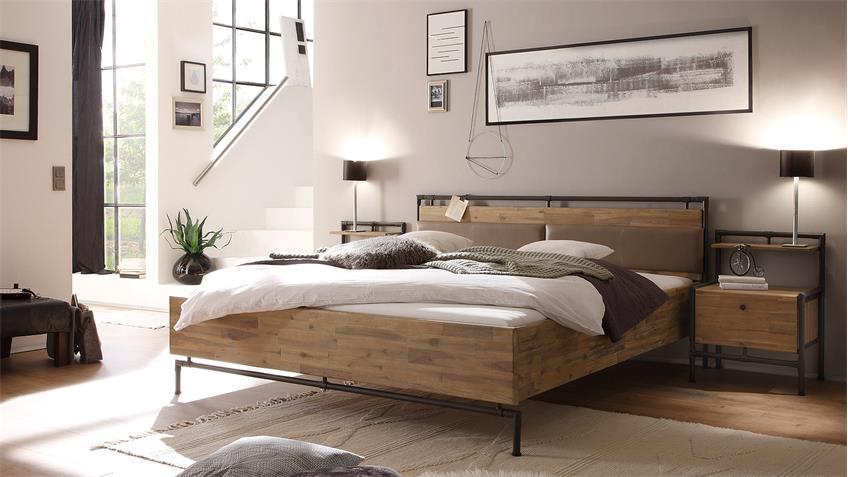 Bett TRE Akazie massiv sägerau gebürstet braun 180x200 cm