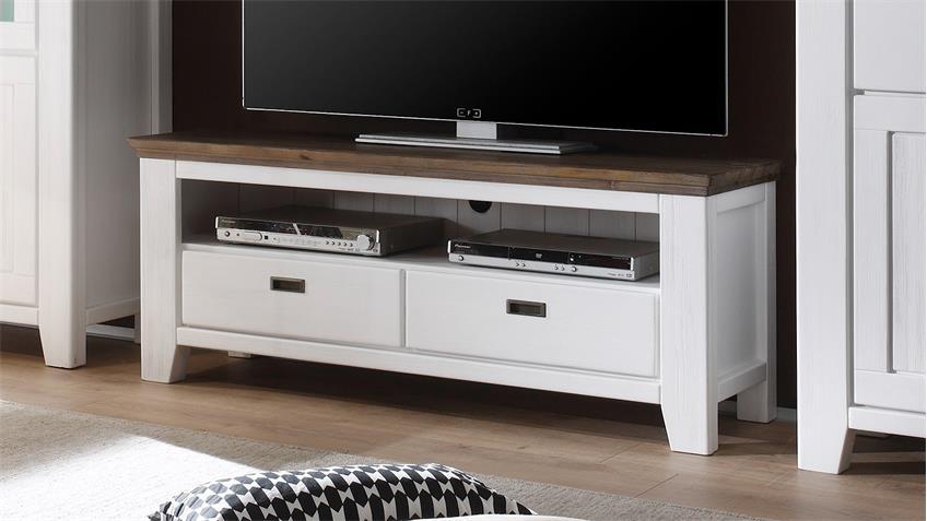 TV-Board BORNHOLM in Akazie teilmassiv weiß gebürstet