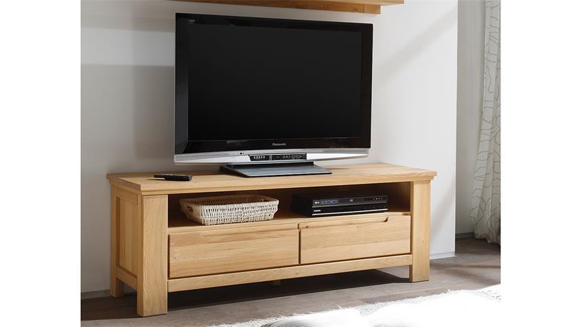 TV-Board 1 MERANO in Wildeiche bianco teilmassiv