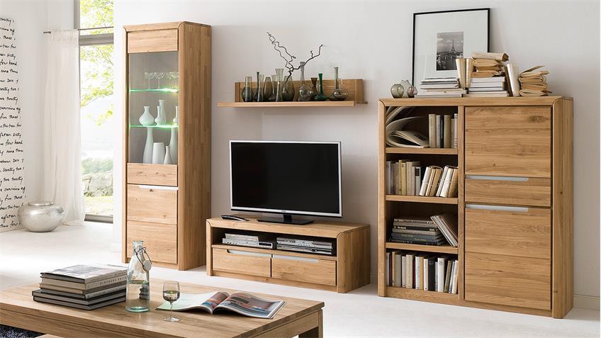 TV-Board 1 FLORENZ Wildeiche bianco massiv Softclose
