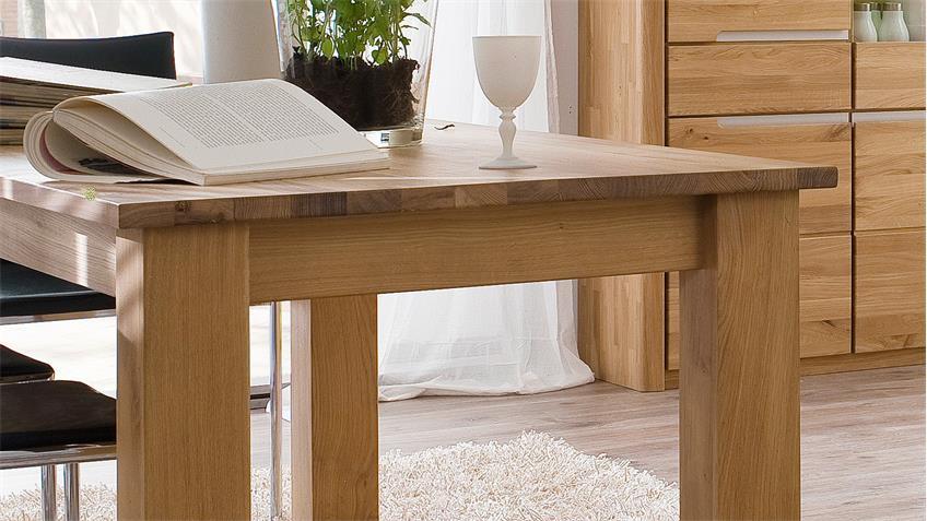 Esstisch FLORENZ Wildeiche bianco massiv 180-260x90 cm