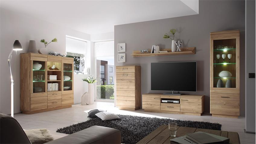 TV-Board 1 QUBO Wildeiche bianco massiv inkl. Softclose