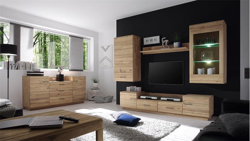 TV-Board 2 QUBO Wildeiche bianco massiv inkl. Softclose