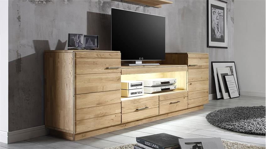 TV-Board 3 QUBO Wildeiche bianco massiv inkl. Softclose