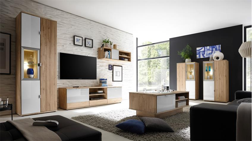 h ngeregal como wandregal regal wildeiche massiv und wei glas lack. Black Bedroom Furniture Sets. Home Design Ideas