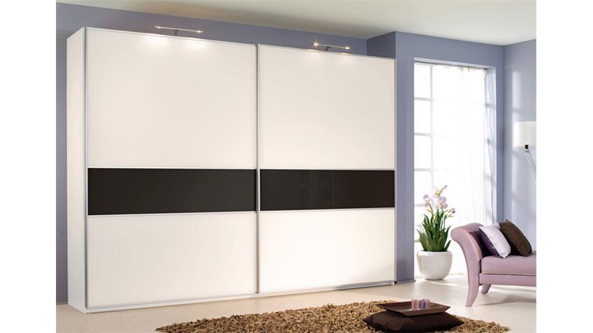 Schwebetürenschrank SAVOY in Weiß und Schwarz 226 cm breit