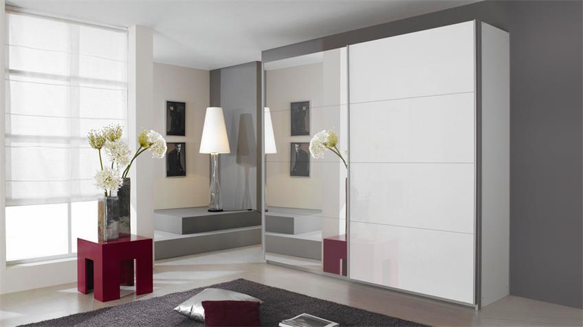 Schwebetürenschrank QUADRA Weißglas Spiegel 271