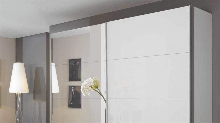 Schwebetürenschrank QUADRA Schwarzglas Spiegel 271