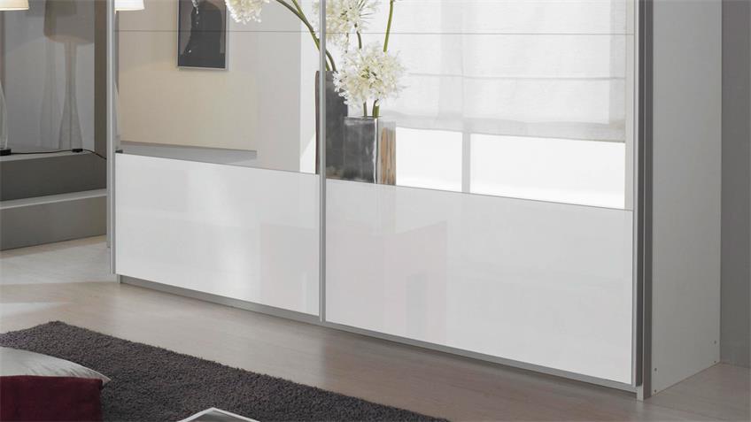 Schwebetürenschrank QUADRA in weiß Glas Spiegel 271x210