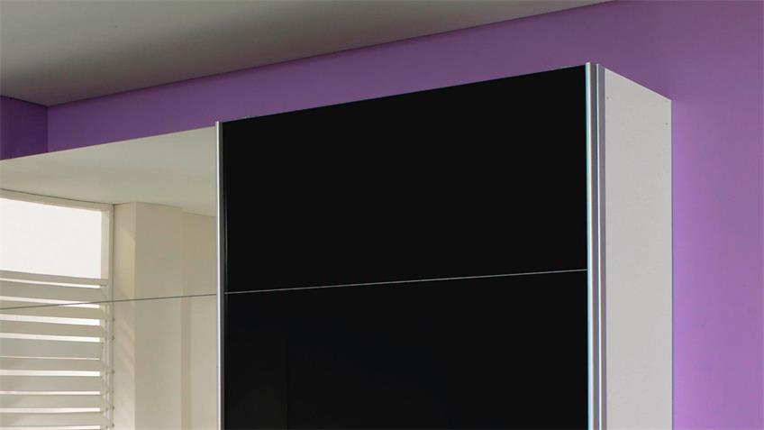 Schwebetürenschrank QUADRA schwarz Glas Spiegel 271x210