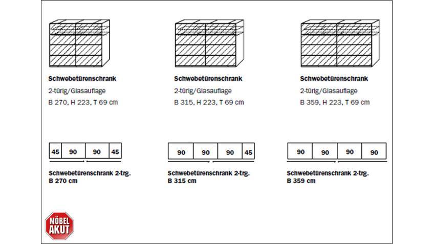 Schwebetürenschrank SANDRIN I Schrank weiß anthrazit 270 cm
