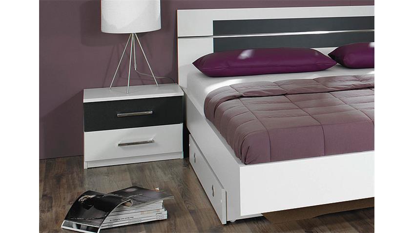 Bettanlage BURANO in Weiß und Grau mit Nachtkommoden
