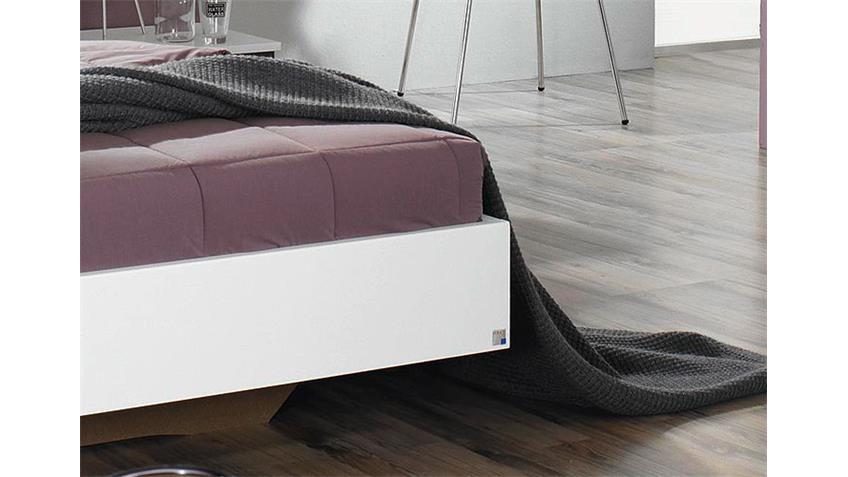 BURANO Bettanlage Weiß und Grau metallic