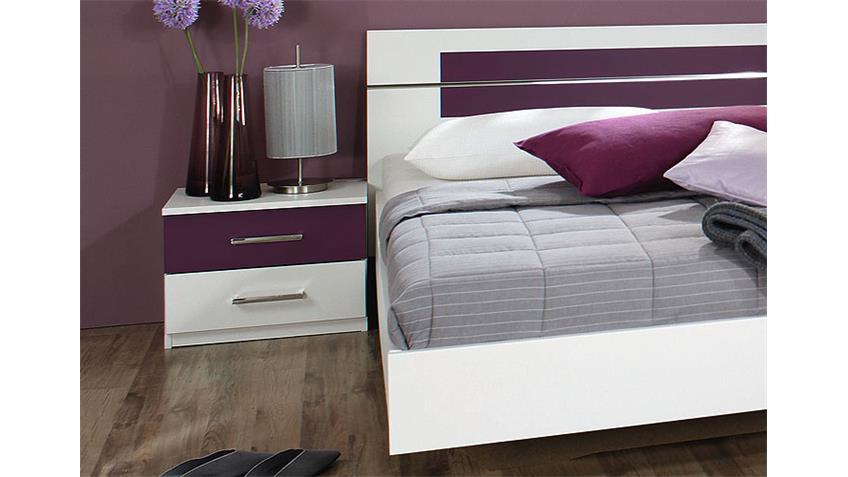 Bettanlage BURANO in weiß und Brombeer Bett 180x200 2 Nakos