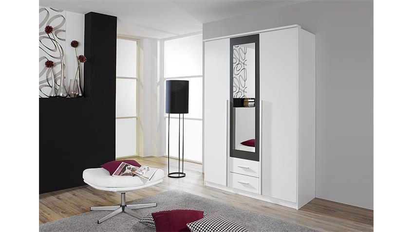 Kleiderschrank KREFELD Weiß und Grau mit Spiegel 136 cm