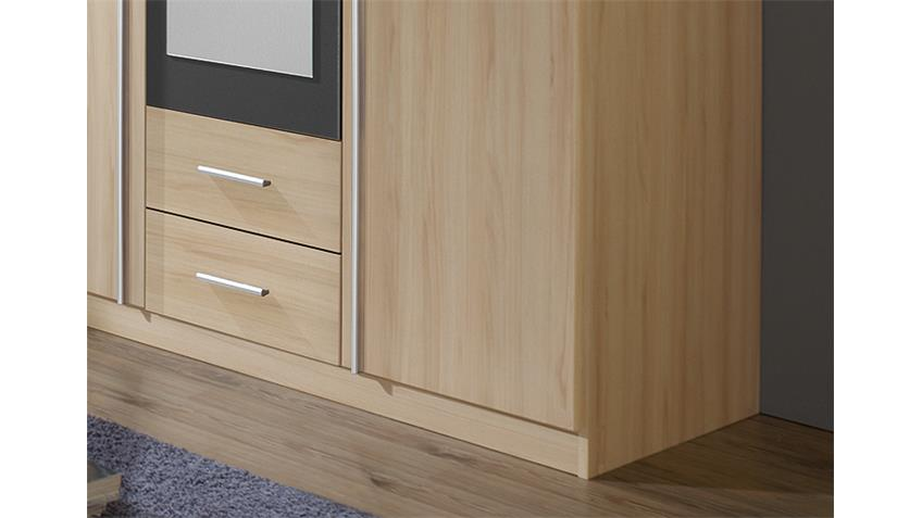 Kleiderschrank KREFELD Buche und Grau mit Spiegel 136 cm
