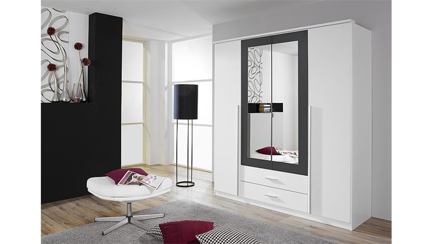 kleiderschrank krefeld wei und grau mit spiegel 181 cm. Black Bedroom Furniture Sets. Home Design Ideas