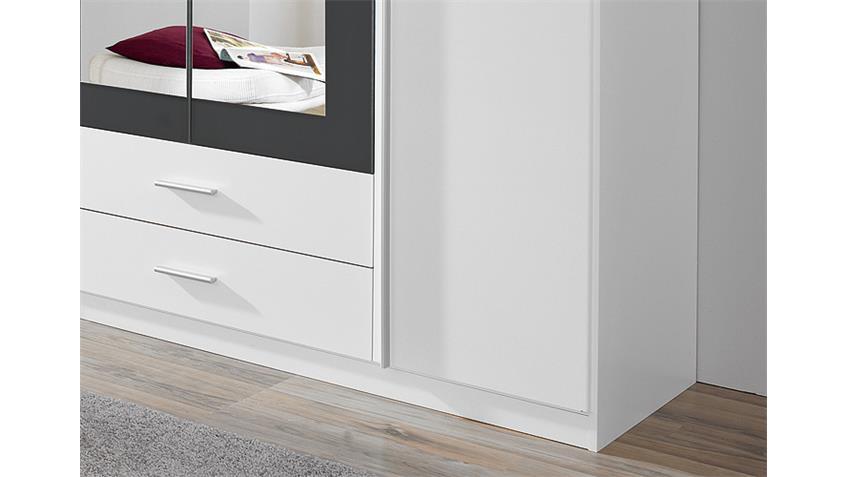 Kleiderschrank KREFELD Weiß und Grau mit Spiegel 181 cm