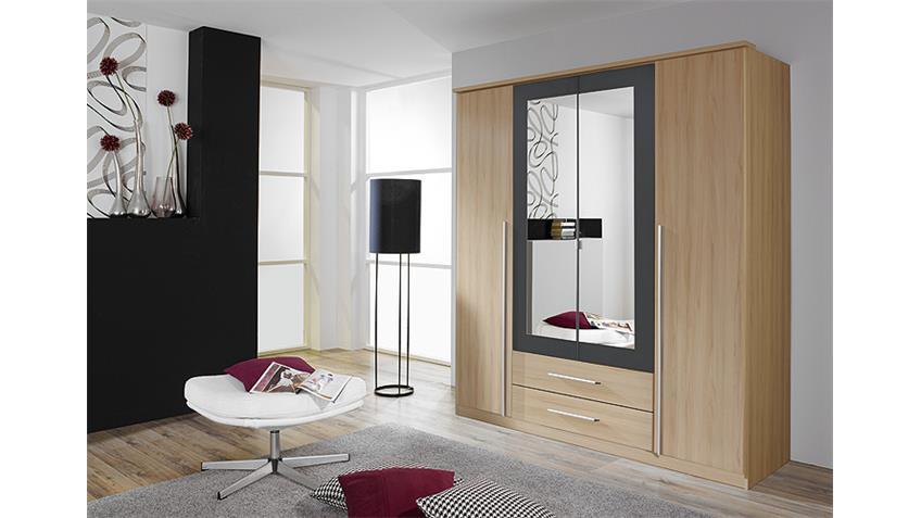 Kleiderschrank KREFELD Buche und Grau mit Spiegel 181 cm