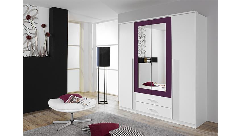 Kleiderschrank KREFELD Weiß und Lila mit Spiegel 181 cm