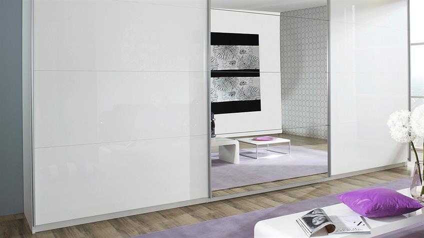 Schwebetürenschrank BELUGA in weiß Hochglanz Spiegel 315x223