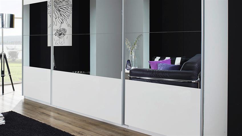 Schwebetürenschrank BELUGA in Hochglanz weiß Spiegel 315x223