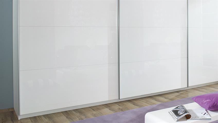 Schwebetürenschrank BELUGA Schrank in weiß Hochglanz 315x223