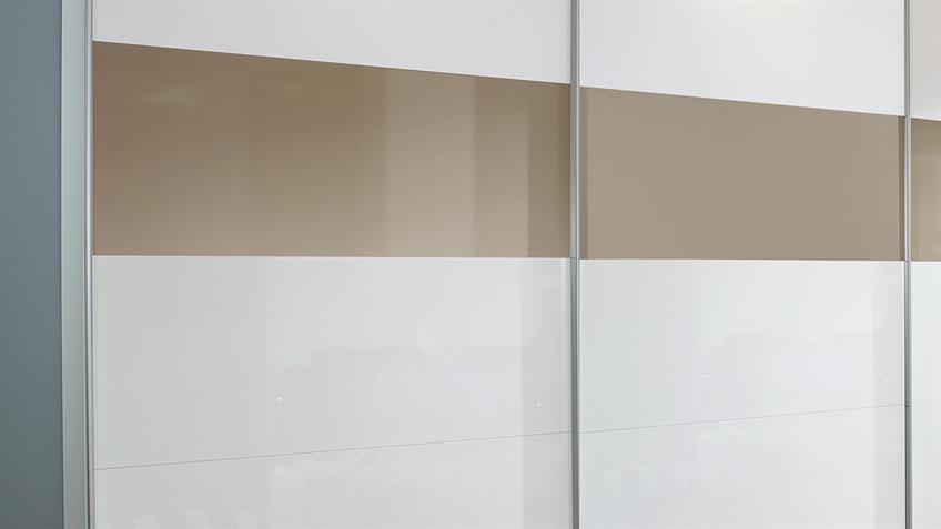 Schwebetürenschrank BELUGA weiß sandgrau Hochglanz 315x223