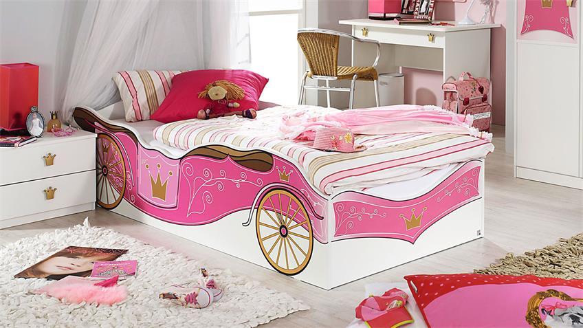 Kinderbett KATE weiß und rosa Print Prinzessin 90x200 cm