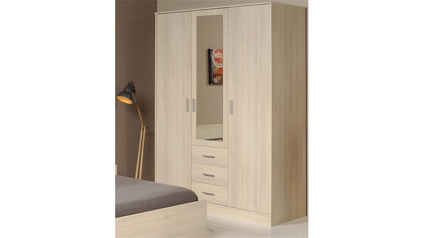 Kleiderschrank INFINITY Schrank Drehtürenschrank Spiegel Akazie 148 cm