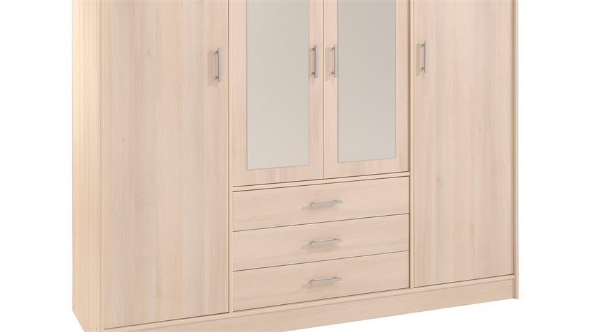 Kleiderschrank INFINITY Schrank Drehtürenschrank Spiegel Akazie 176 cm