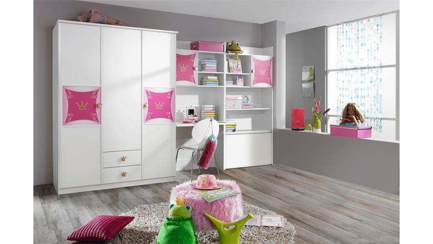 Kleiderschrank KATE weiß und rosa Print Prinzessin